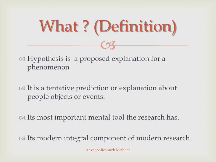Advance Research Methods Hypothesis