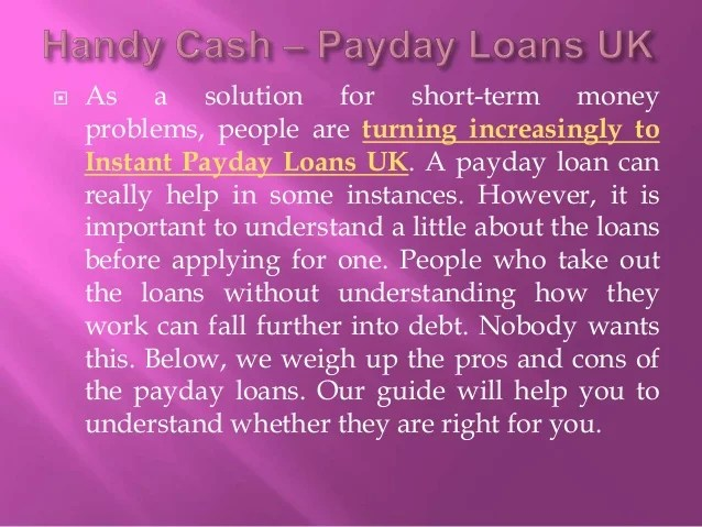 Instant Cash Payday Loans UK - Advantages and Disadvantages
