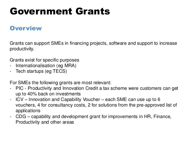 iSME- overview of government grants