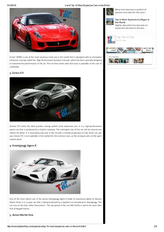 List of top 10 most expensive cars in the world