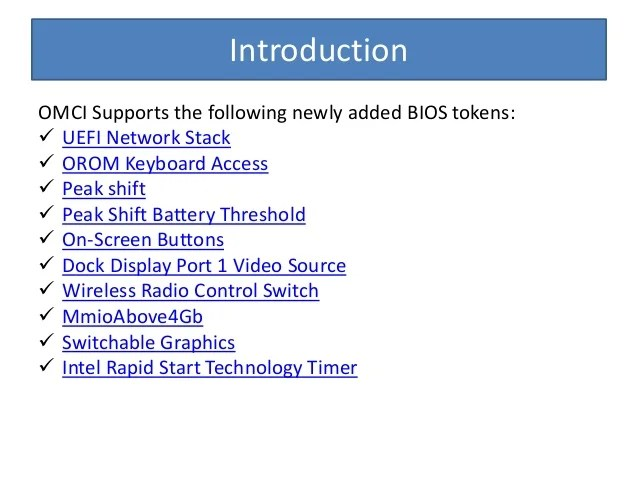 Omci8.2 support for newly added bios tokens