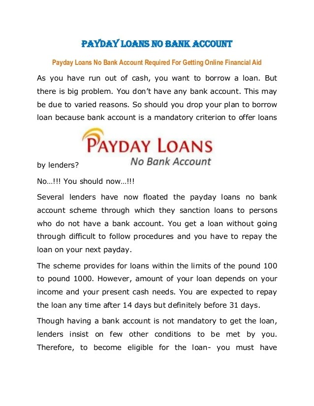 Payday Cash Advance Without Checking Account | Car Interior Design
