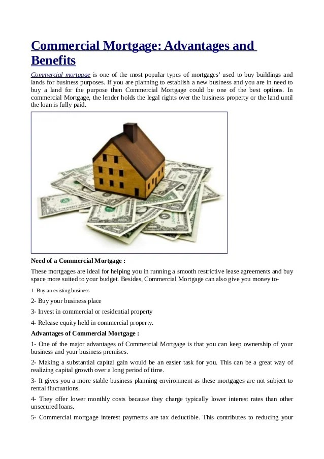 Commercial Mortgage: Advantages and Benefits