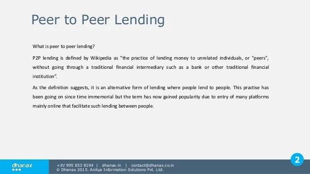 Peer to peer lending India