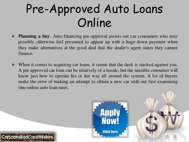 Pre approved auto loans bad credit