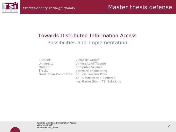 Presentation Master thesis defense