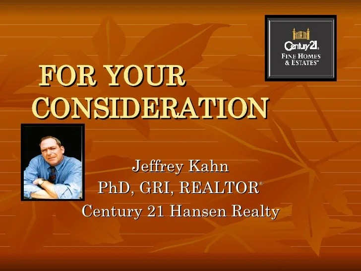 Realtor Jeff Kahn of Century 21 Hansen Realty