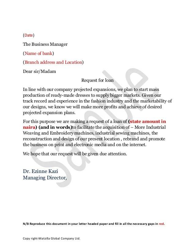 Sample loan application letter