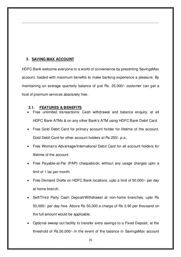 Saving account offerings of hdfc bank