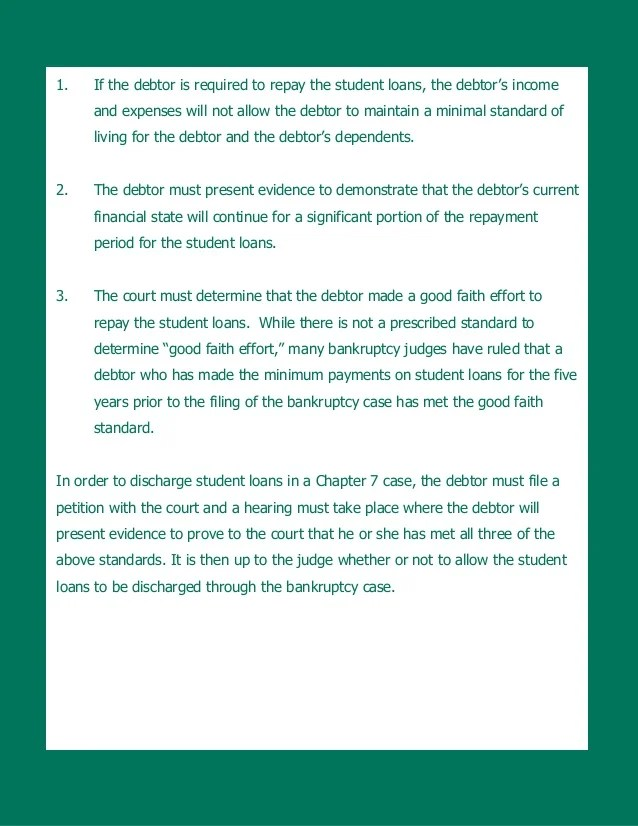 Student Loan in Dischargeability in Chapter 7 Bankruptcy in New Jersey