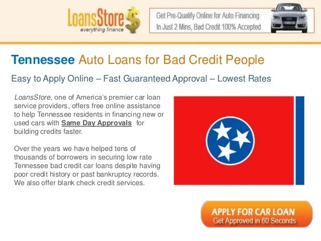 Bad Credit Auto Loans in Tennessee