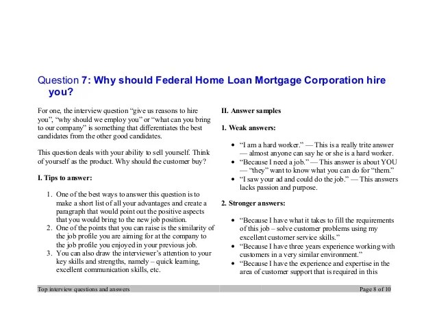 Top 7 federal home loan mortgage corporation interview questions and