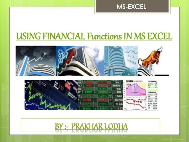 Using financial functions in ms excel