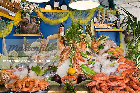 Fish and seafood in a tavern in Rethymnon  Crete  Greece   Stock     Fish and seafood in a tavern in Rethymnon  Crete  Greece   Stock Photo