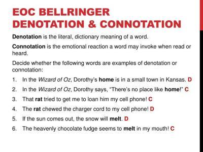 PPT - EOC BELLRINGER DENOTATION & CONNOTATION PowerPoint ...
