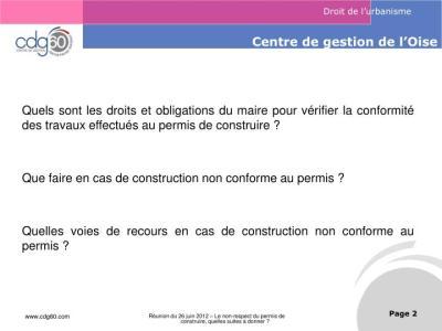 PPT - Le non-respect du permis de construire, Quelles suites à donner ? PowerPoint Presentation ...