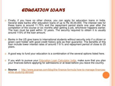 PPT - Education Loan Calculator India : The finance formula, How to manage finances while ...
