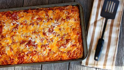 Spaghetti Pizza recipe from Betty Crocker
