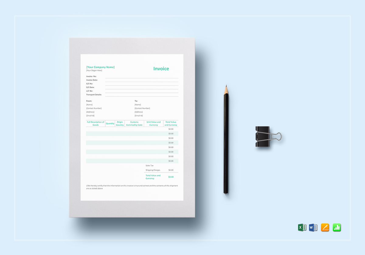 Simple Proforma Invoice Template in Word  Excel  Apple Pages  Numbers Simple Proforma Invoice Template