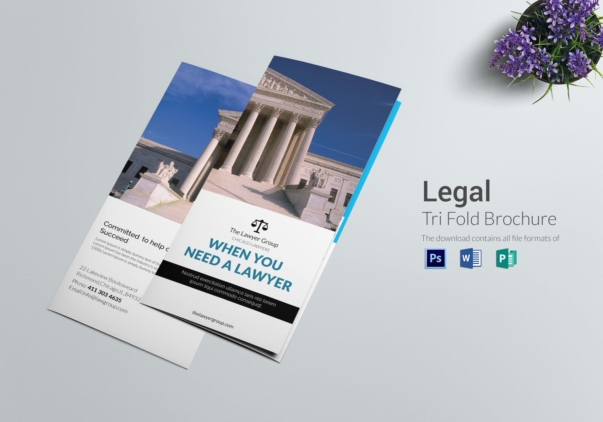 Legal Brochure Tri Fold Design Template in PSD  Word  Publisher Legal Brochure Tri Fold