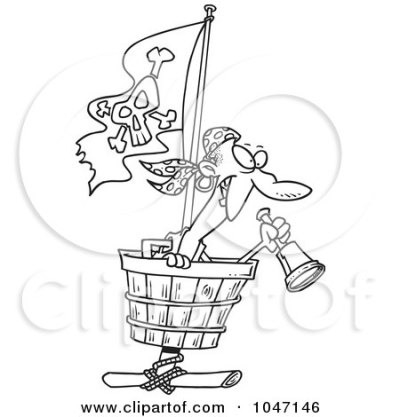 Royalty-Free (RF) Clip Art Illustration of a Cartoon Black And White Outline Design Of A Pirate ...
