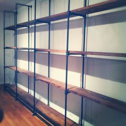 Handmade Custom Sized Industrial Pipe and Reclaimed Wood Shelving By