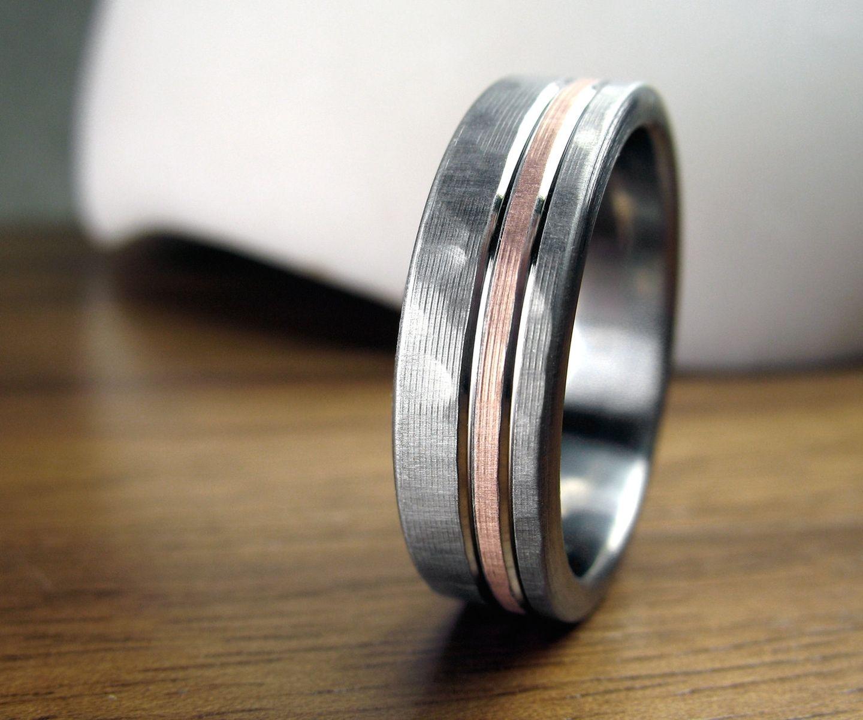 rose gold mens wedding ring mens hammered wedding bands Rose gold mens wedding ring A Hand Crafted Personalized Titanium Rose Gold Hammered Men S