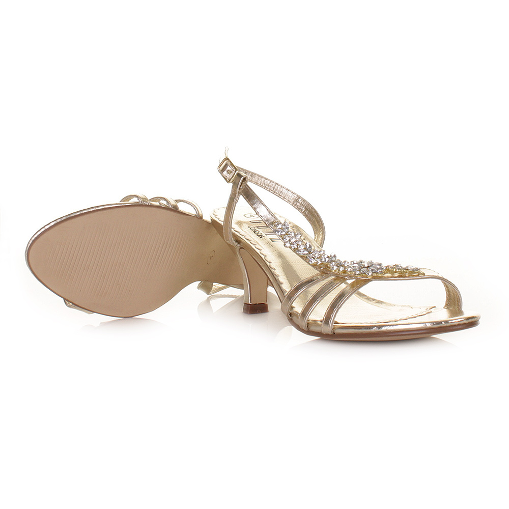 kitten heel wedding shoes WOMENS LOW HEEL GOLD FLOWER DIAMANTE SLINGBACK PROM WEDDING SHOES SIZE 3 8