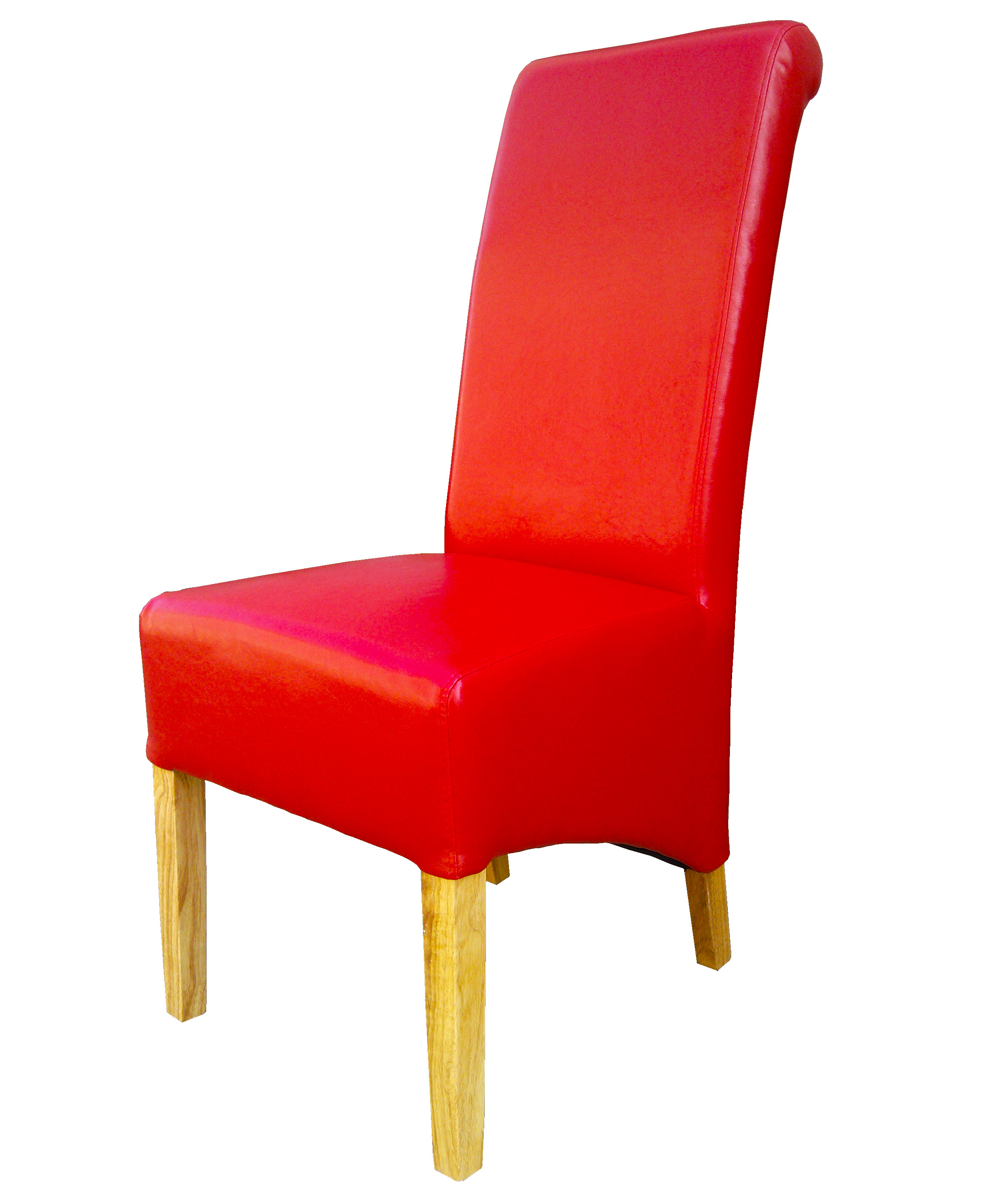 red high back dining chairs red kitchen chairs Premium Quality Dining Chairs Faux Leather Roll Top Scroll High Back Wood Legs
