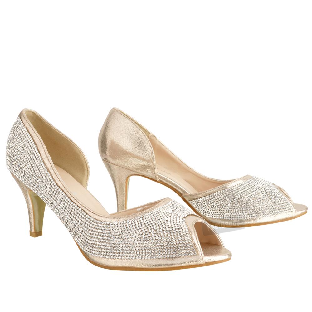 kitten heel wedding shoes WOMENS LADIES LOW KITTEN HEEL GLITTER DIAMANTE PEEP