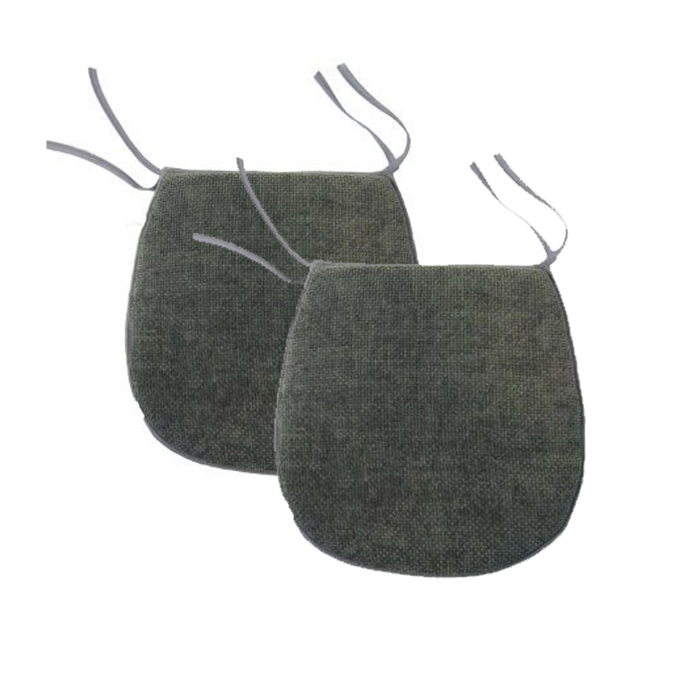 kitchen chair pads Charcoal Grey Tie On Chenille Seat Pad Outdoor Dining Room Kitchen Chair Cushion