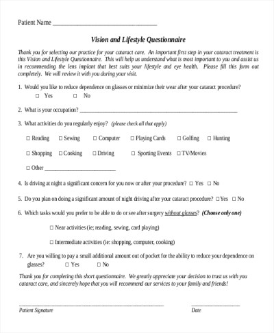 8+ Lifestyle Questionnaire Examples, Samples
