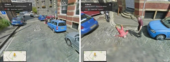 How Google Street View Became An Art Form Faking It  the ax murderer and victim were really mechanics and pranksters  Gary Kerr and Dan Thompson   Photos  via Google Maps