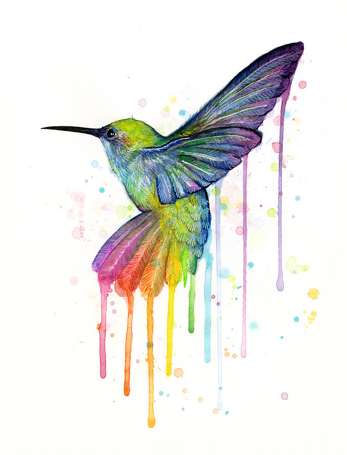 Hummingbird Of Watercolor Rainbow Painting by Olga Shvartsur Hummingbird Painting   Hummingbird Of Watercolor Rainbow by Olga Shvartsur