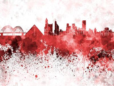 Memphis Skyline In Red Watercolor On White Background Painting by Pablo Romero