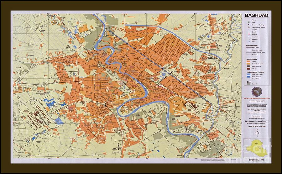 Map Of Baghdad Iraq Photograph by Pd Baghdad Photograph   Map Of Baghdad Iraq by Pd