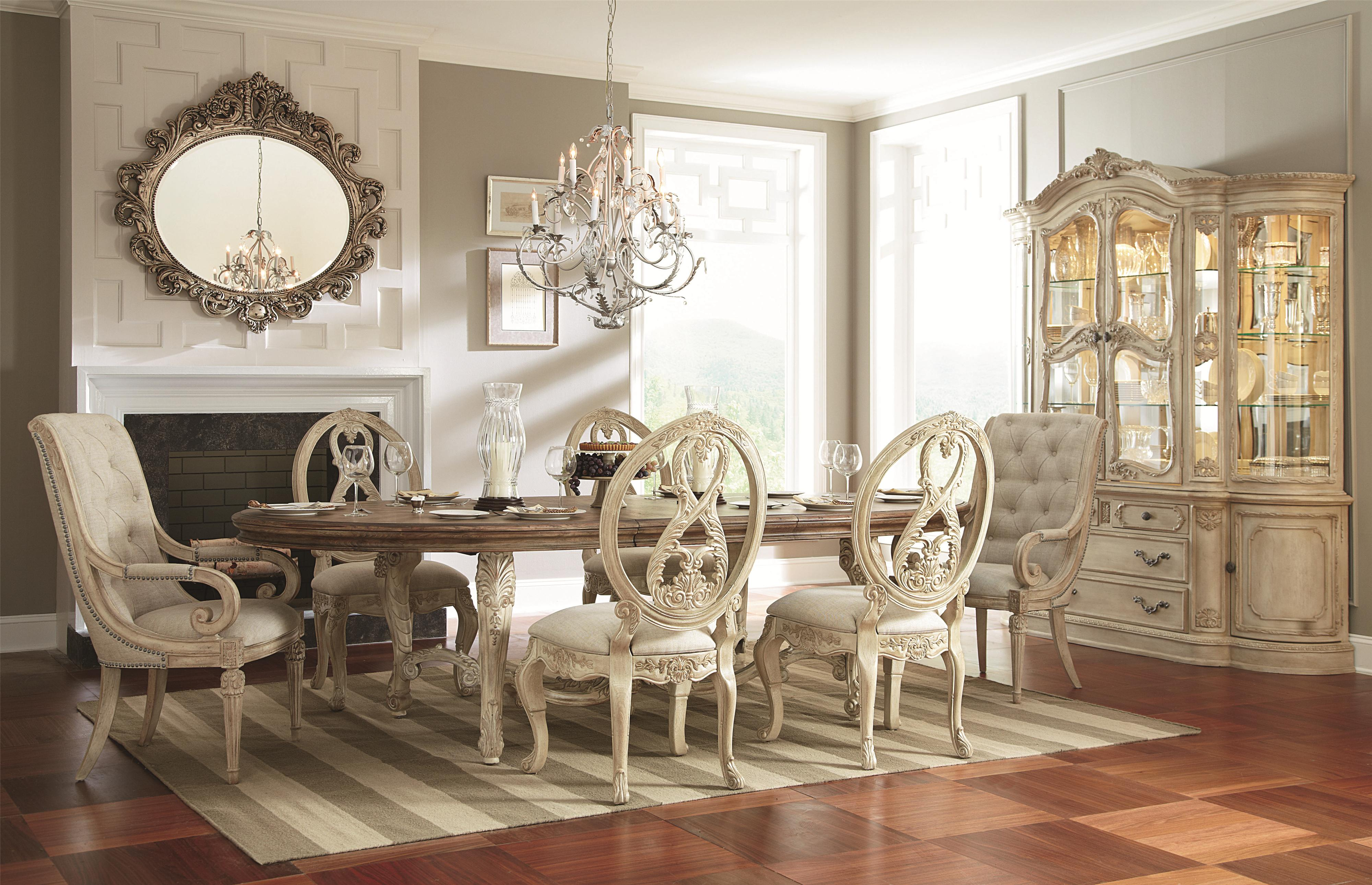 oval kitchen table American Drew Jessica McClintock Home The Boutique Collection 7 Piece Oval Dining Table with Splat Back Upholstered Arm Chairs Wayside Furniture