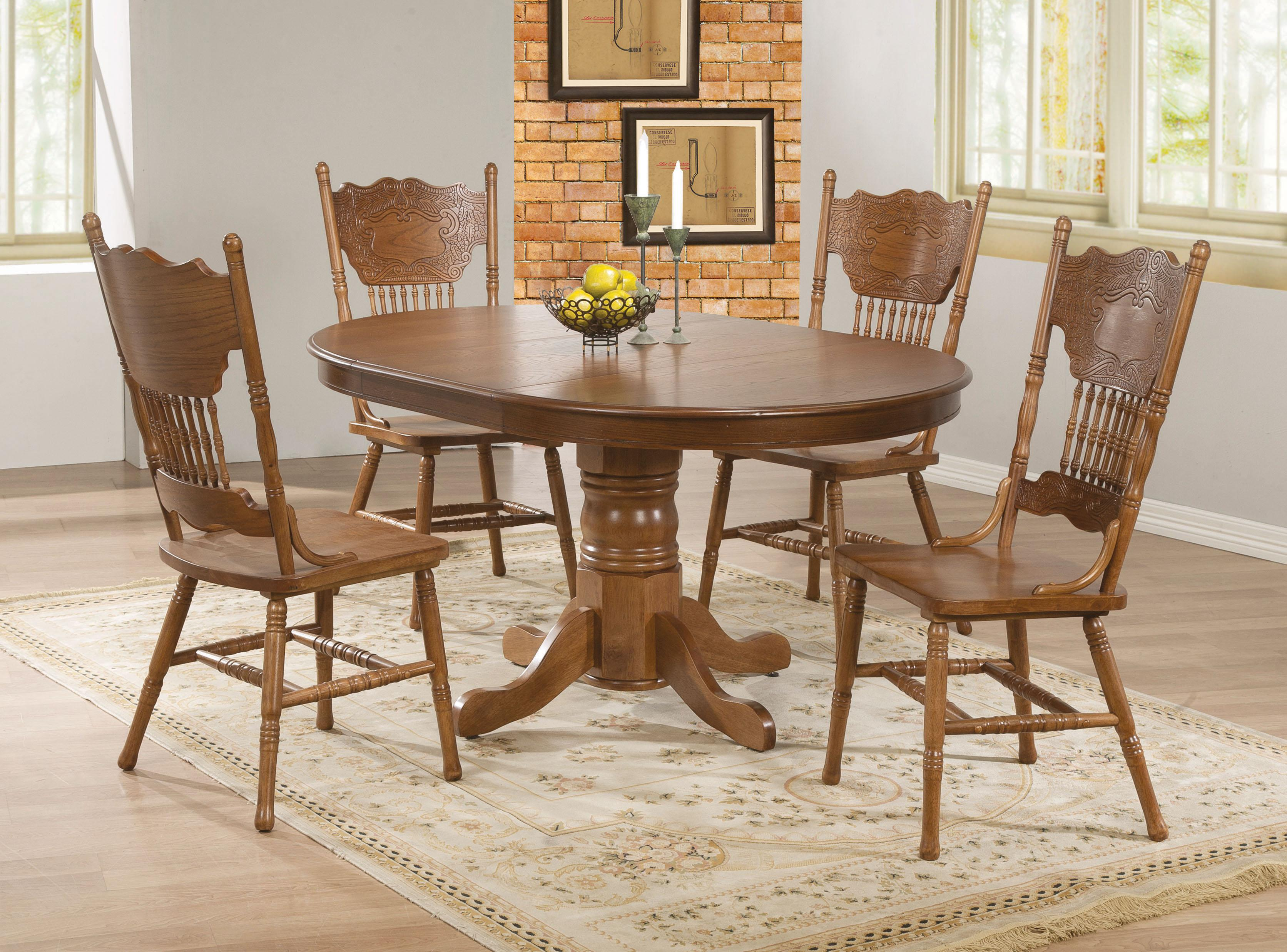 kitchen table and chairs Coaster Brooks 7 Piece Table Set with Oak Finish Round Oval Table Coaster Fine Furniture