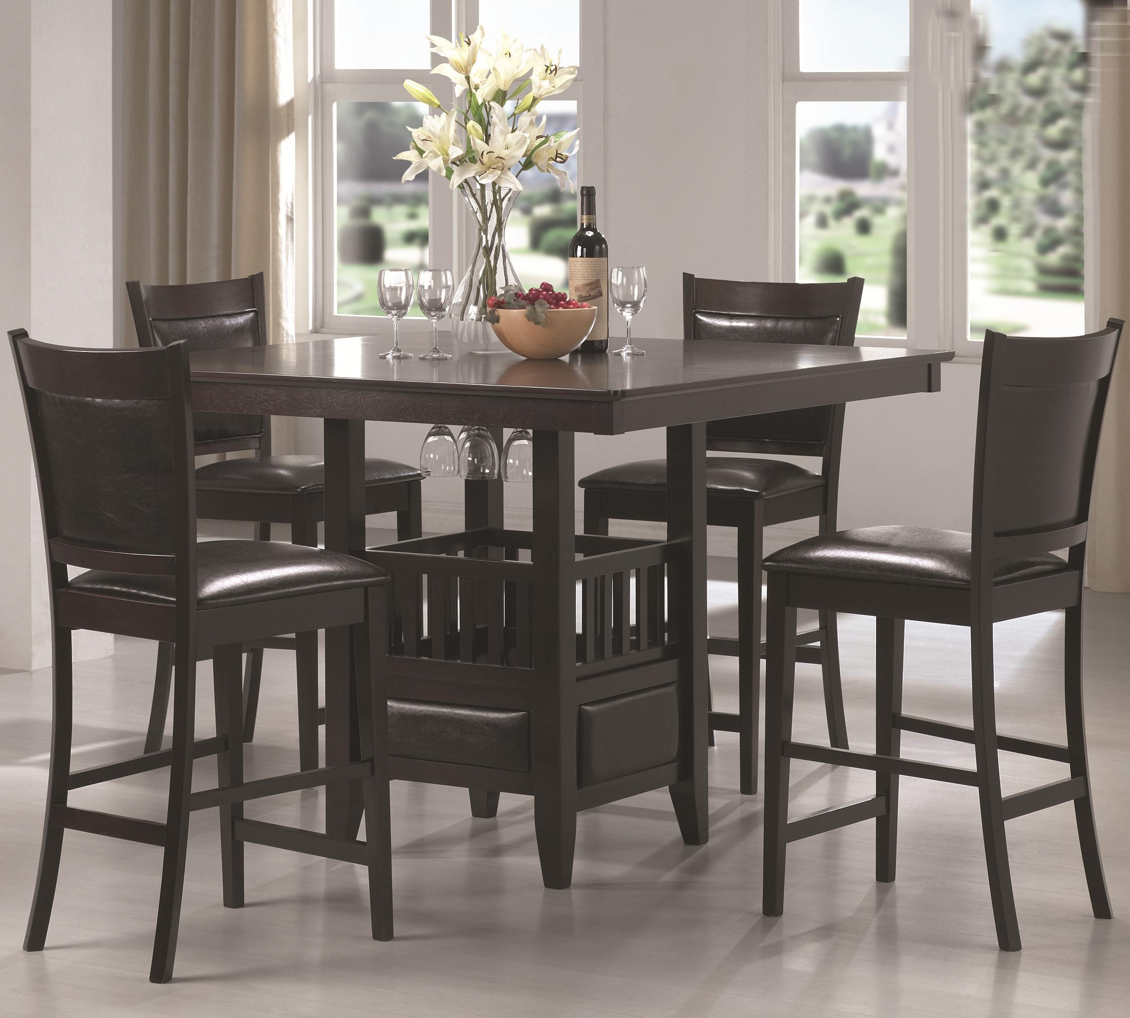 counter height kitchen chairs Coaster Jaden Square Counter Height Table Cushioned Stool Set Coaster Fine Furniture