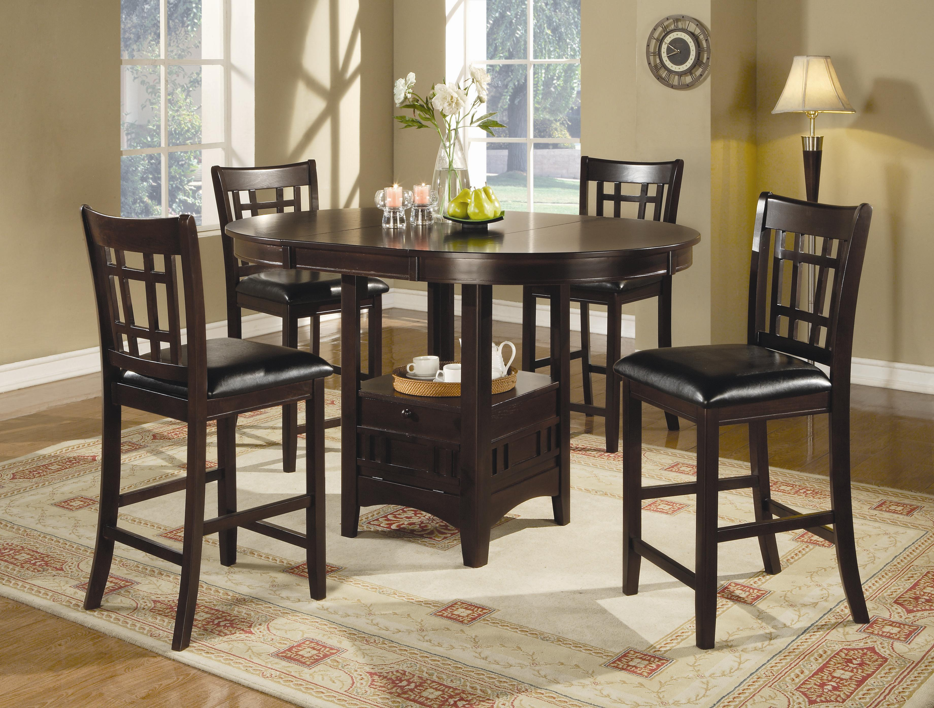 counter height kitchen chairs Coaster Lavon 5 Piece Counter Table and Chair Set Coaster Fine Furniture