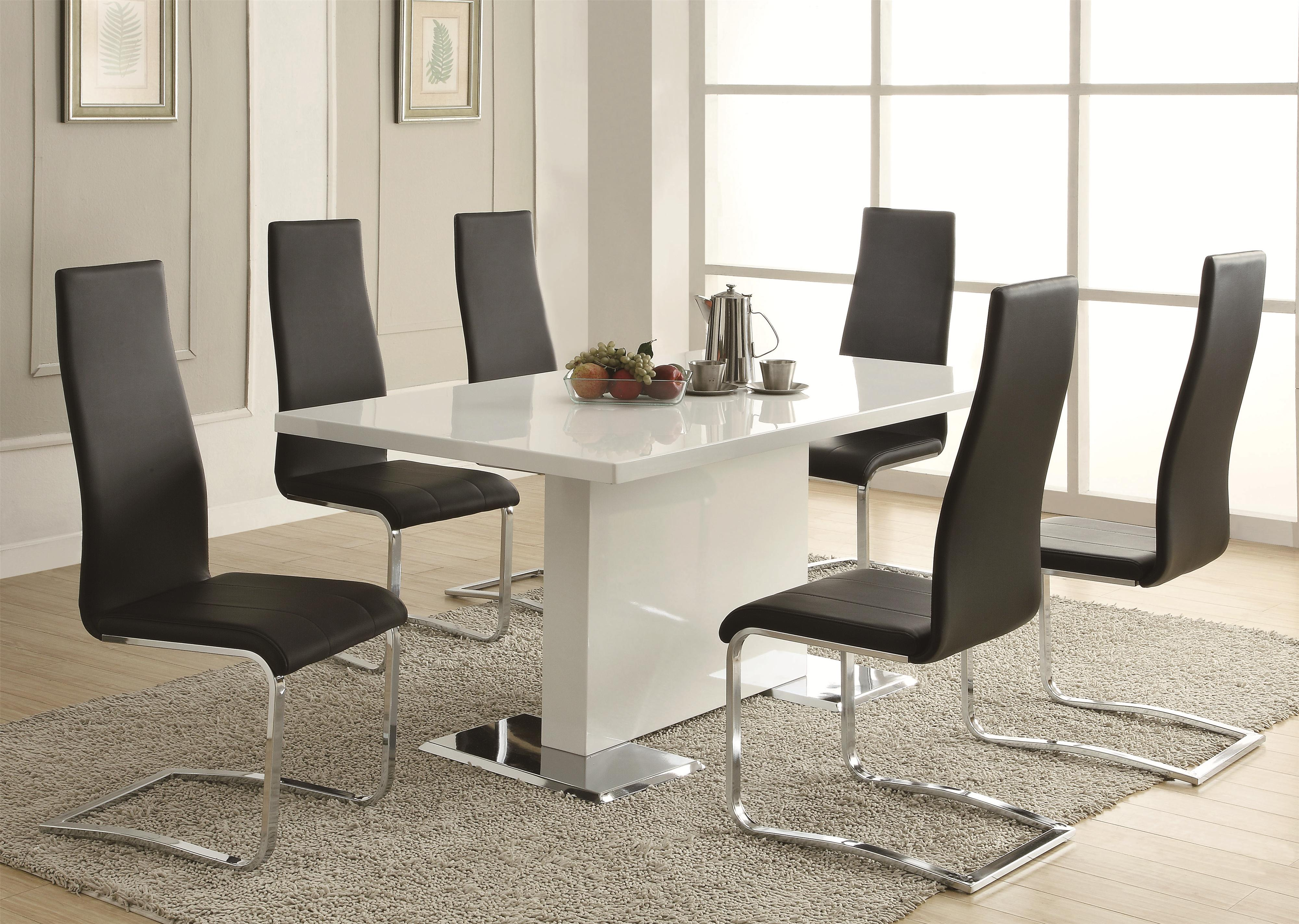 kitchen table and chairs Coaster Modern Dining White Dining Table with Chrome Metal Base Coaster Fine Furniture