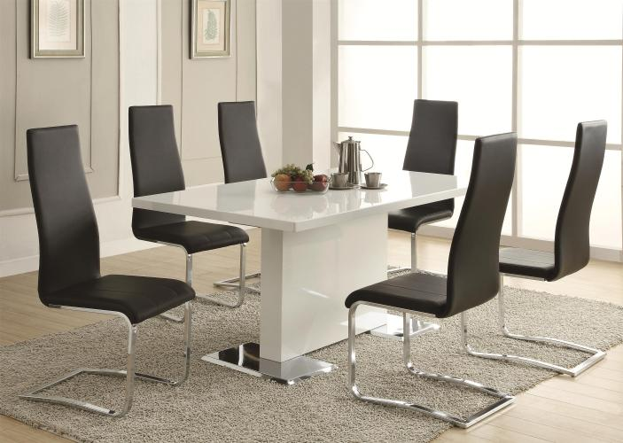 white kitchen table Coaster Modern Dining White Dining Table with Chrome Metal Base Coaster Fine Furniture