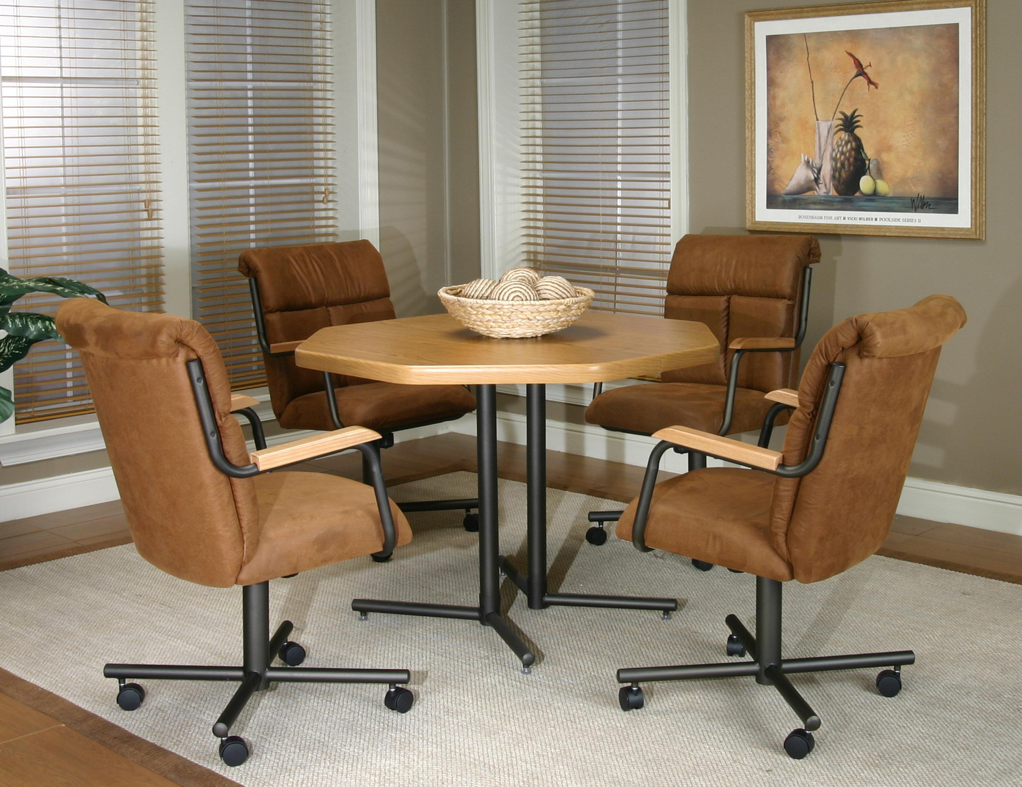 kitchen chairs with arms Cramco Inc Landon Dining Arm Chair With Casters Wayside Furniture Dining Chair with Casters