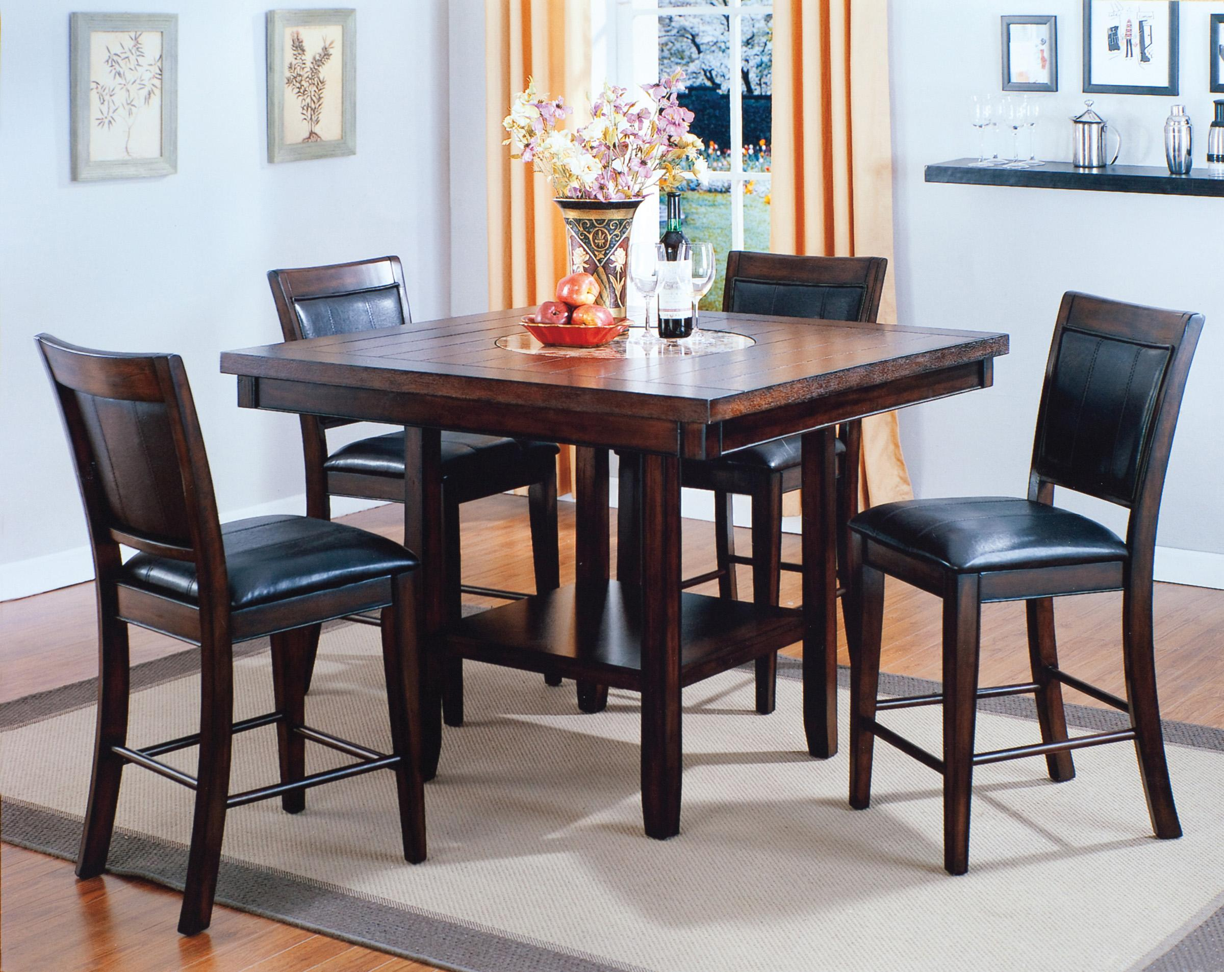 kitchen table las vegas Crown Mark Fulton Counter Height Table with 20 Inch Lazy Susan Wayside Furniture Pub Table