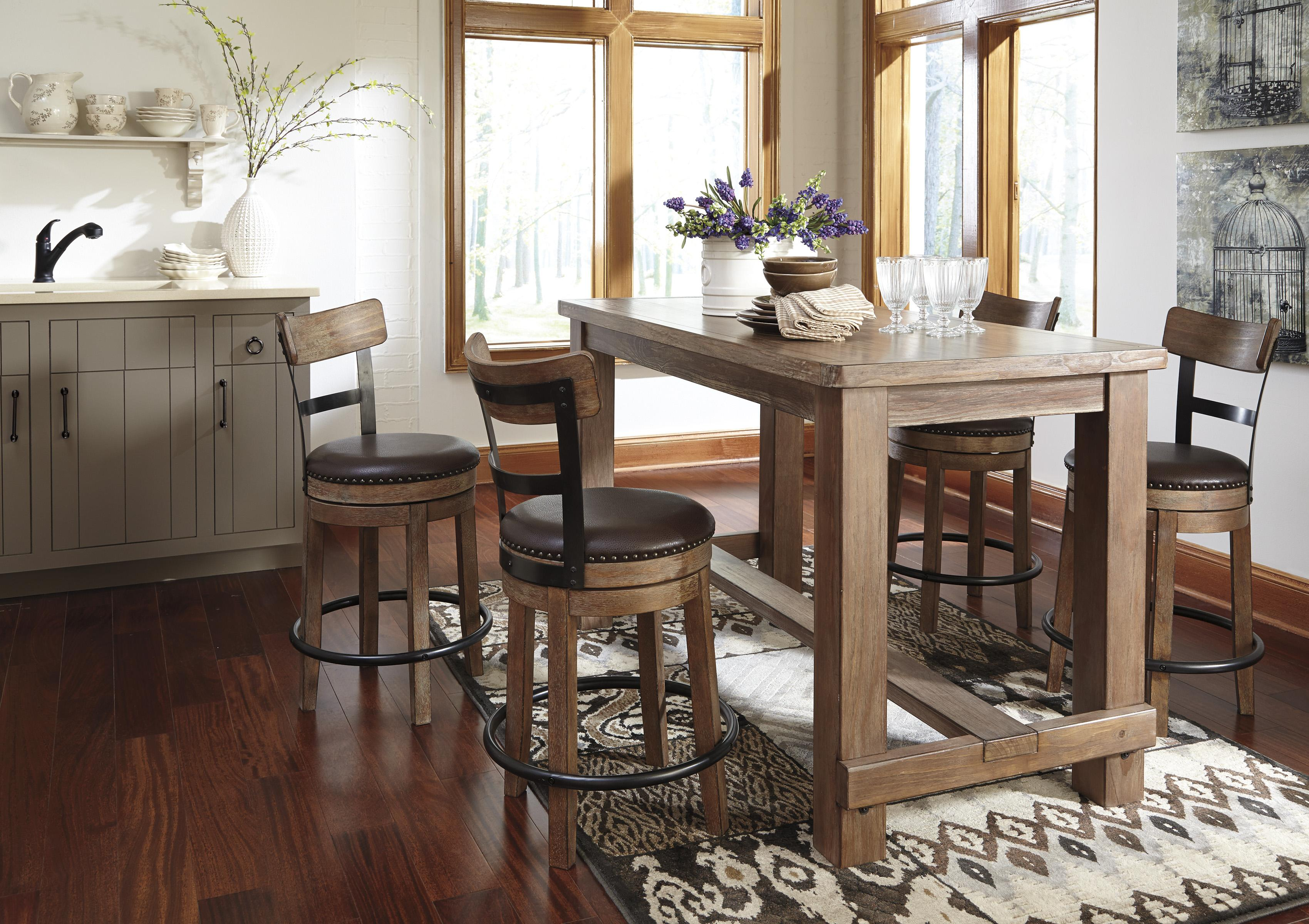 bar height kitchen table Signature Design by Ashley Pinnadel Rectangular Pine Veneer Dining Room Bar Table in Wire Brushed Gray Brown Finish Rotmans Pub Tables Worcester
