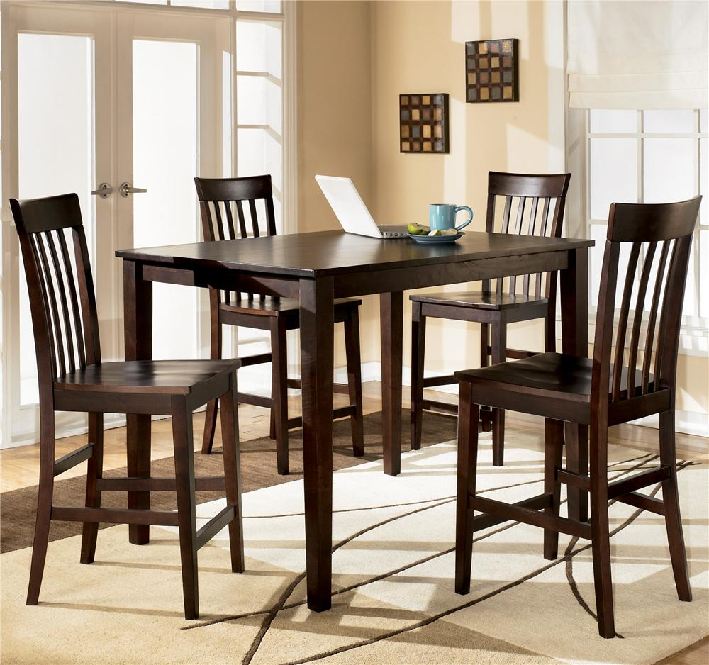counter height kitchen tables Ashley Furniture Hyland Rectangular Counter Height Table w 4 Stools Item Number D