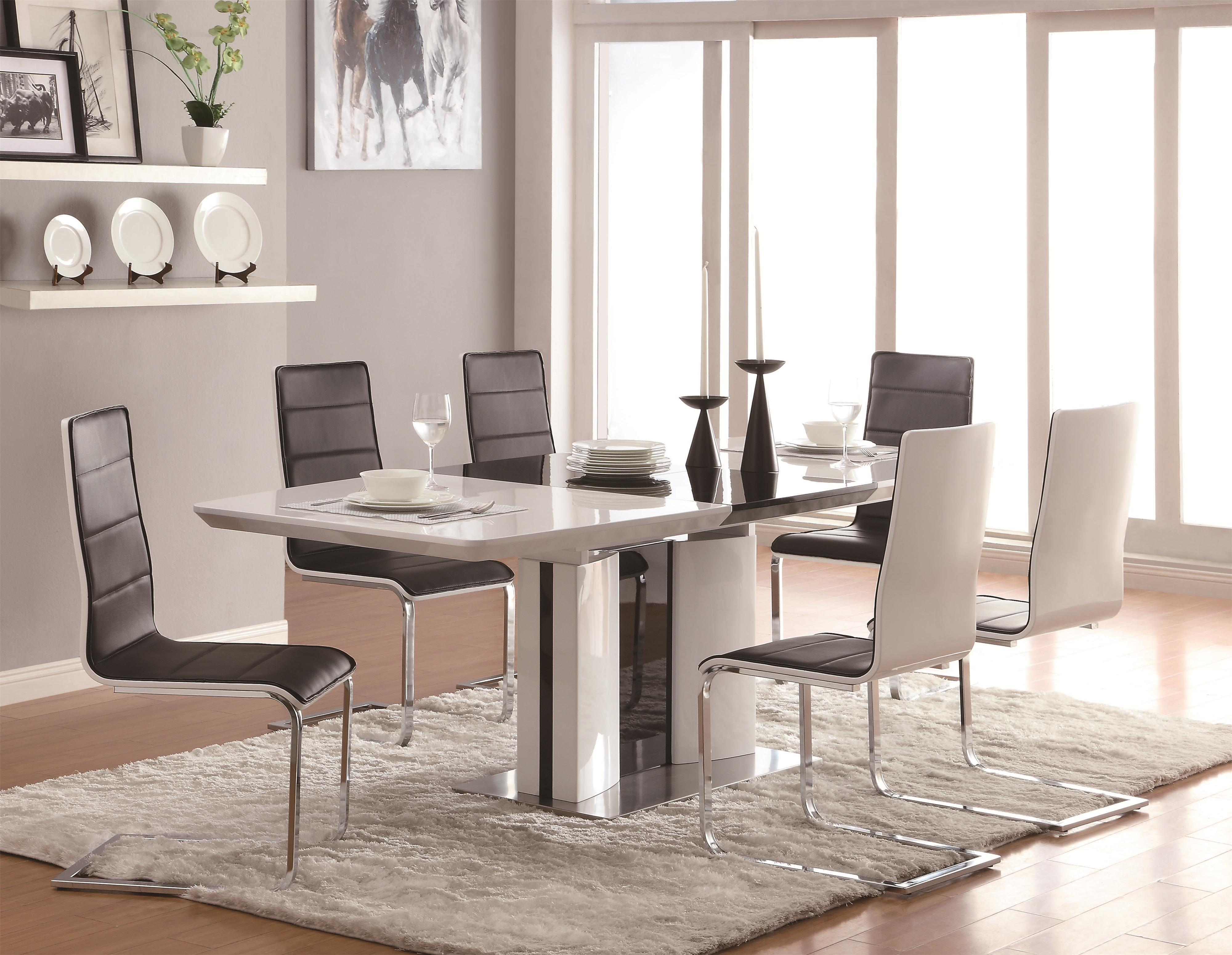 white kitchen table Coaster Broderick 7 Piece Dining Table Set Item Number
