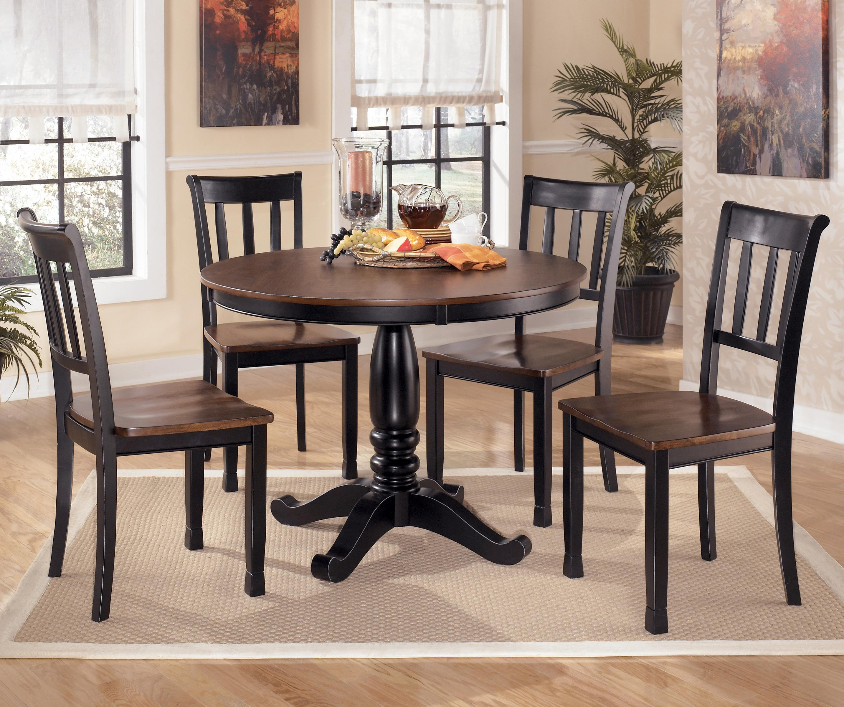 kitchen table and chairs Signature Design by Ashley Owingsville 5 Piece Round Dining Table Set