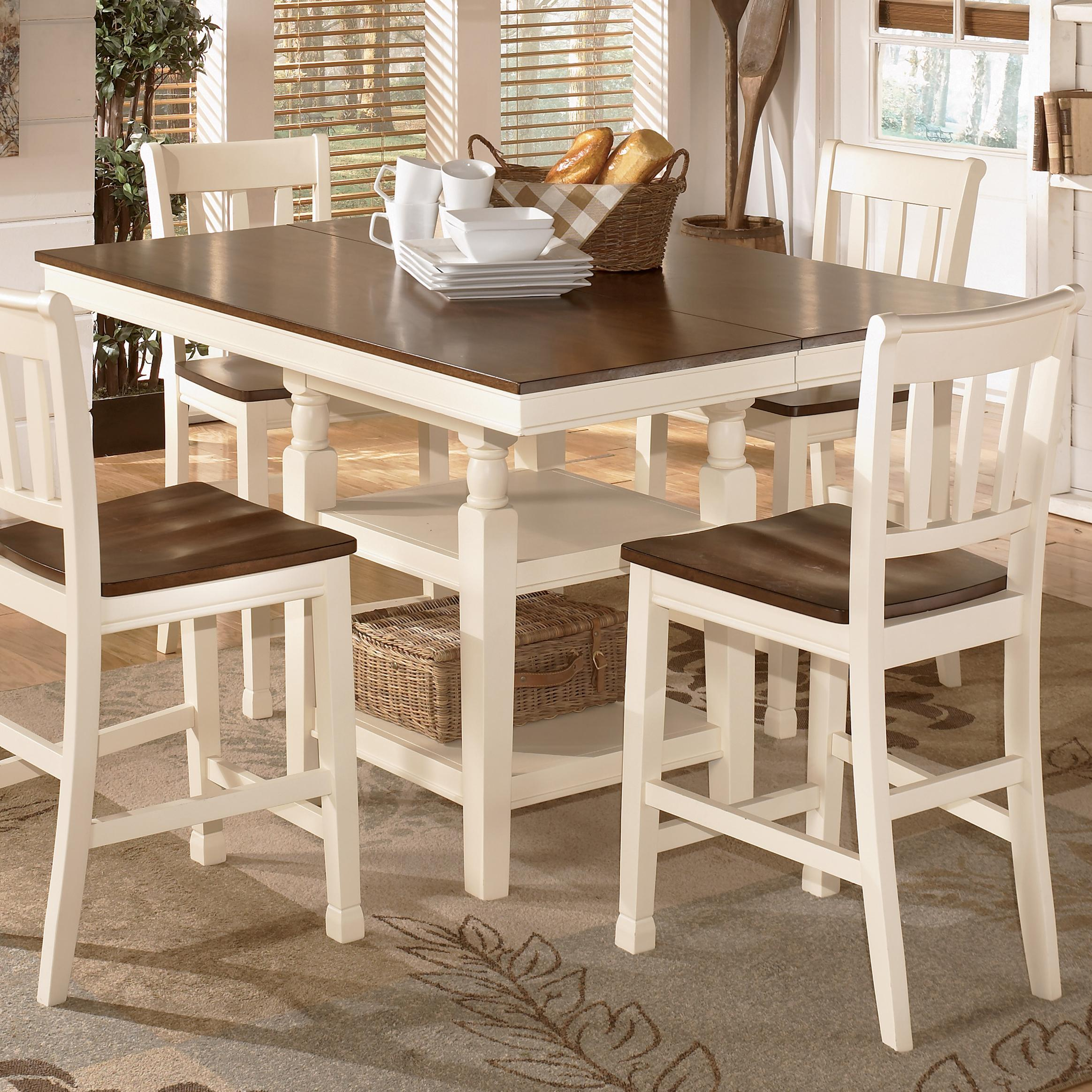 square kitchen table Signature Design by Ashley Whitesburg Square Dining Room Counter Ext Table Item Number D