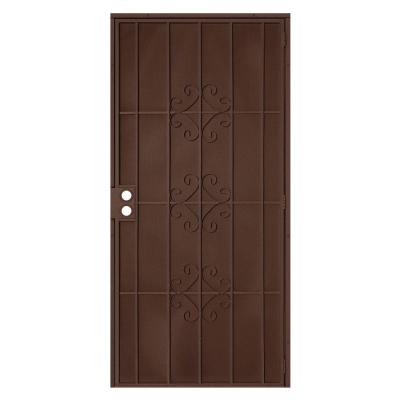 Unique Home Designs 32 in. x 80 in. Del Flor Copper Surface Mount Outswing Steel Security Door ...